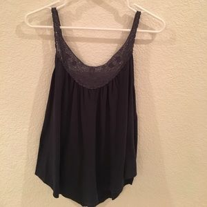 Navy flowy top with crochet detail